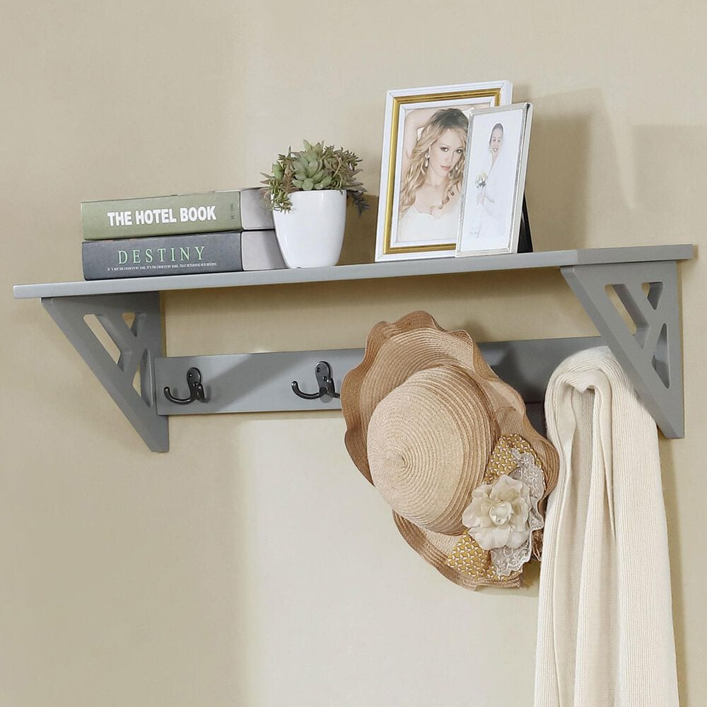 """Bolton Furniture Coventry 36"""" Coat Hook with Shelf in Gray, , large"""