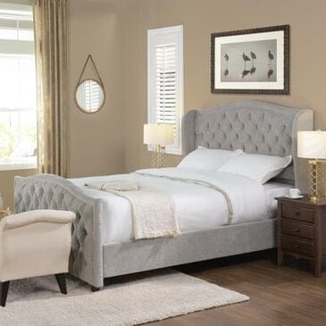 Jennifer Taylor Home Marcella Tufted Wingback Queen Bed in Silver Grey, , large