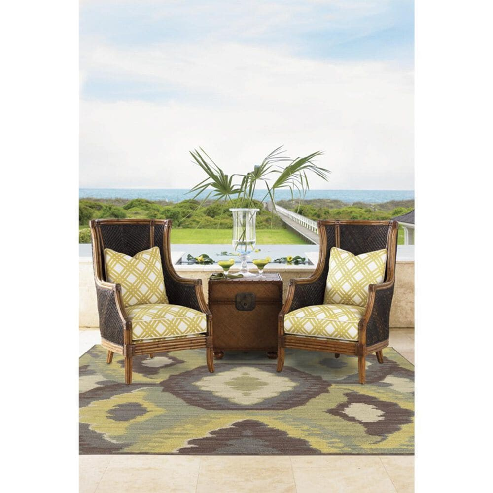 """Oriental Weavers Cabana 929N2 3""""10"""" x 5""""5"""" Brown and Blue Area Rug, , large"""
