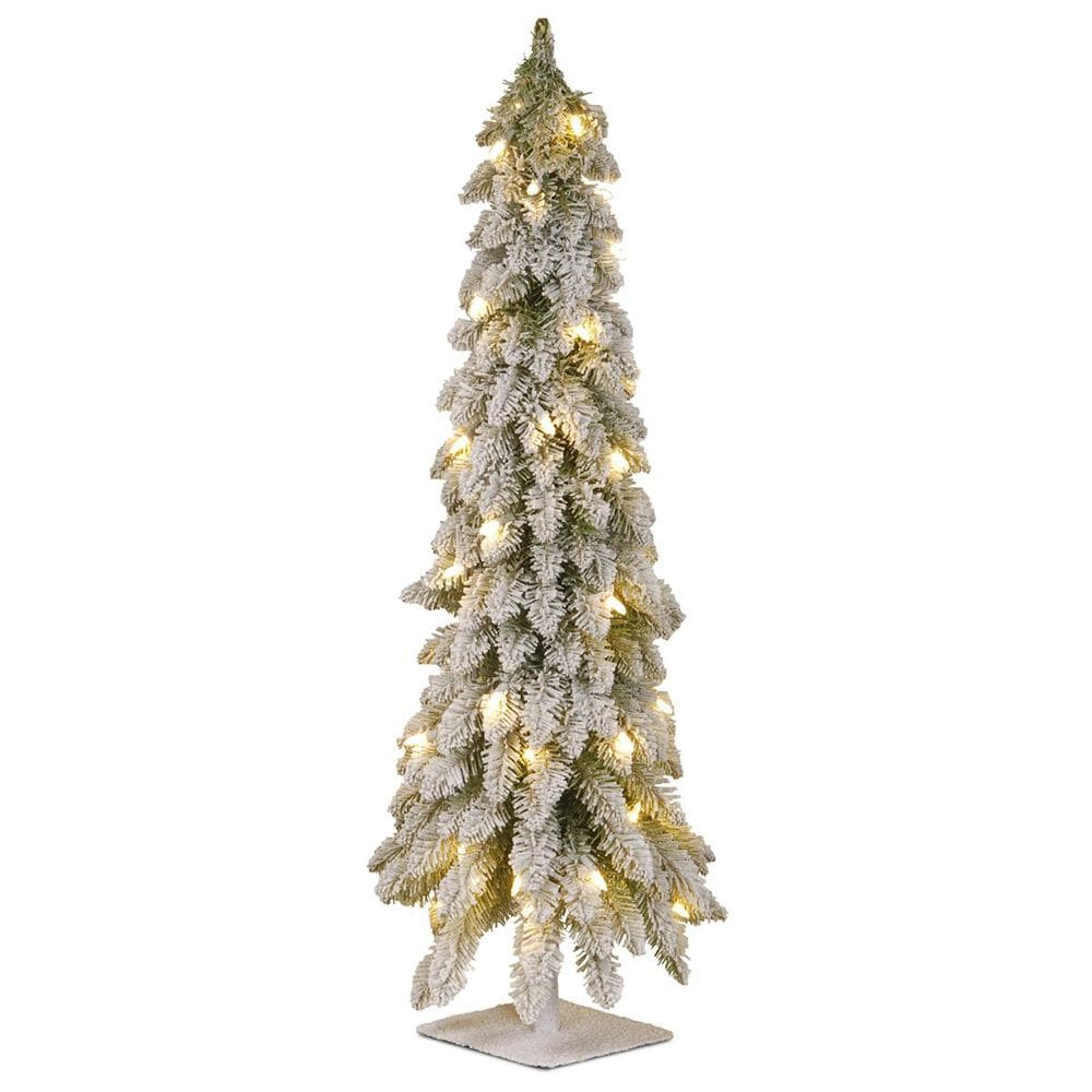"""National Tree 36"""" Forest Tree with Metal Plate and 50 White Lights, , large"""