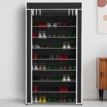 Timberlake Lavish Home Tiered Shoe Rack in Black, , large