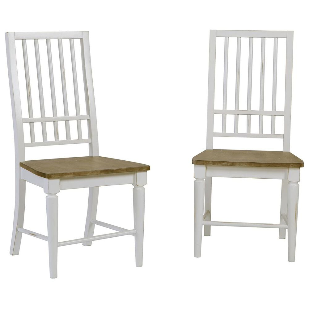 Tiddal Home Shutters Dining Chair in Light Oak and Distressed White (Set of 2), , large