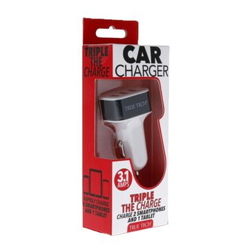 True Tech 3.1 Amp USB Car Charger in Black, , large