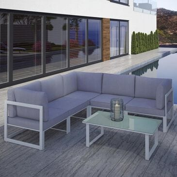 Modway Fortuna 6-Piece Outdoor Patio Sectional Set in White and Gray, , large