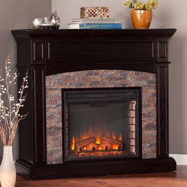 Southern Enterprises Jedor Electric Corner Media Fireplace in Ebony/Black/Faux River Stone, , large