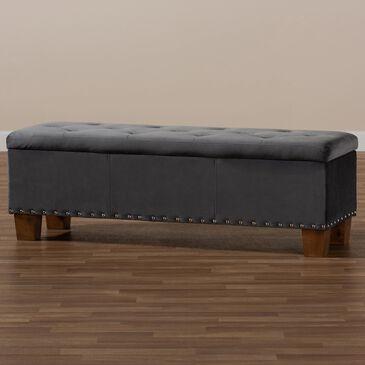Baxton Studio Hannah Storage Ottoman Bench in Grey/Brown, , large