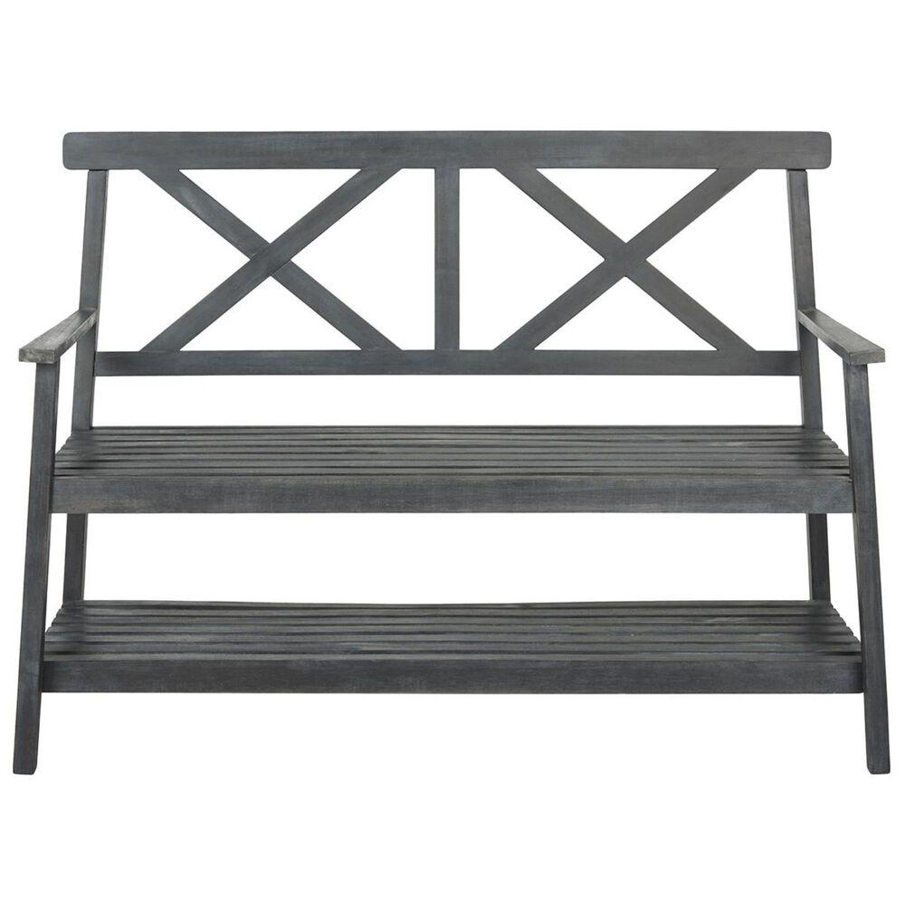 "Safavieh Mayer 49.21"" Outdoor Bench in Dark Slate Grey, , large"