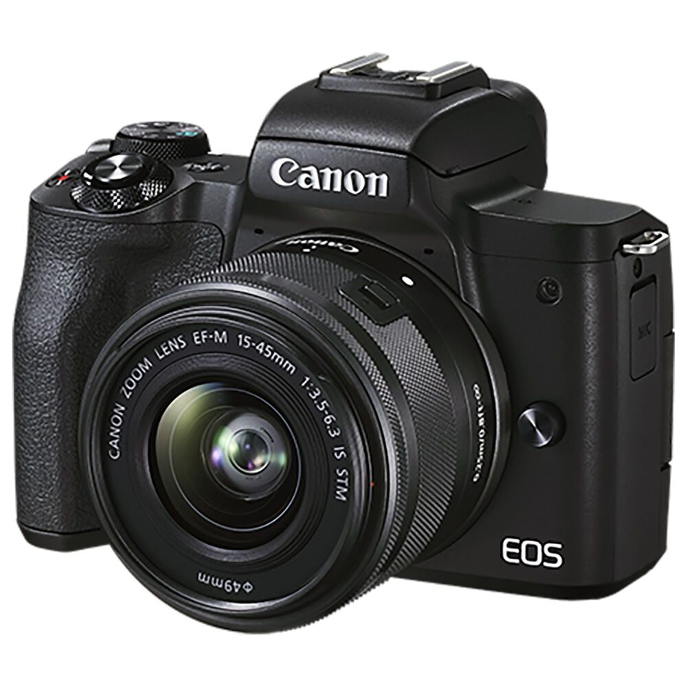 Canon EOS M50 Mark II Mirrorless Camera with EF-M 15-45mm f/3.5-6.3 and EF-M 55-200mm f/4.5-6.3 IS STM in Black, , large