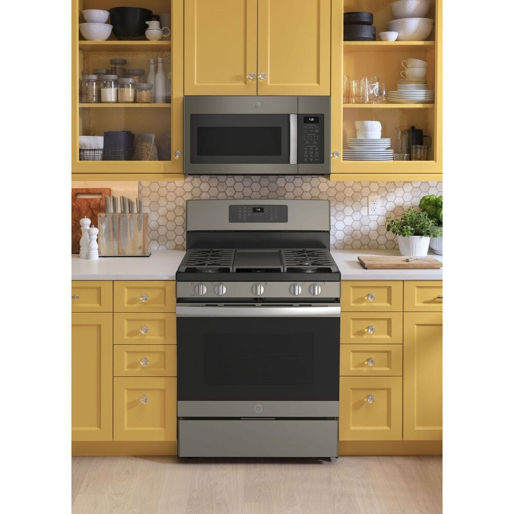 GE Appliances 2-Piece Kitchen Package with 30'' Gas Range and 1.9 Cu. Ft. Microwave Oven in Slate, , large