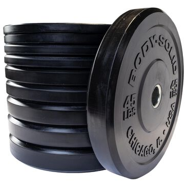 Body Solid 260 lb Chicago Extreme Bumper Plate Set in Smooth Black, , large