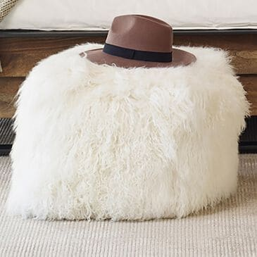Moe's Home Collection Lamb Fur Pouf in White, , large