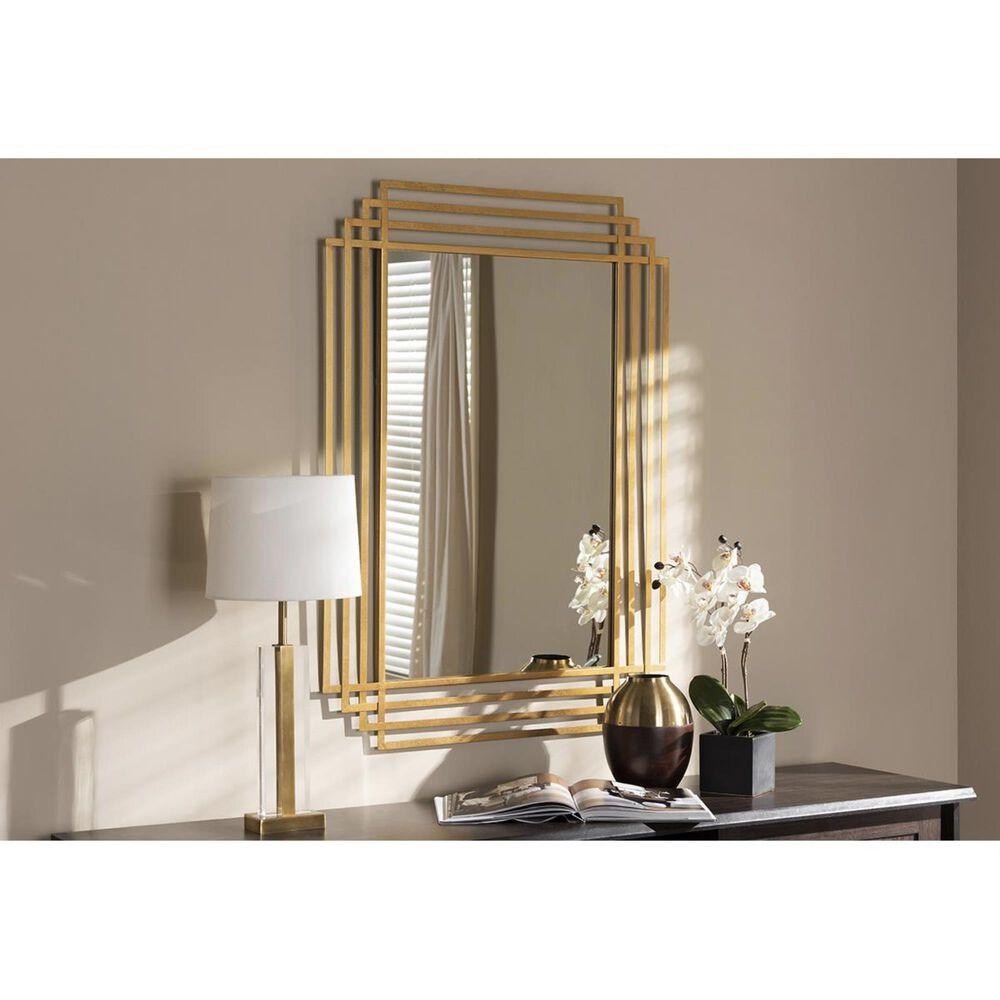 Baxton Studio Kalinda Accent Wall Mirror in Antique Gold, , large