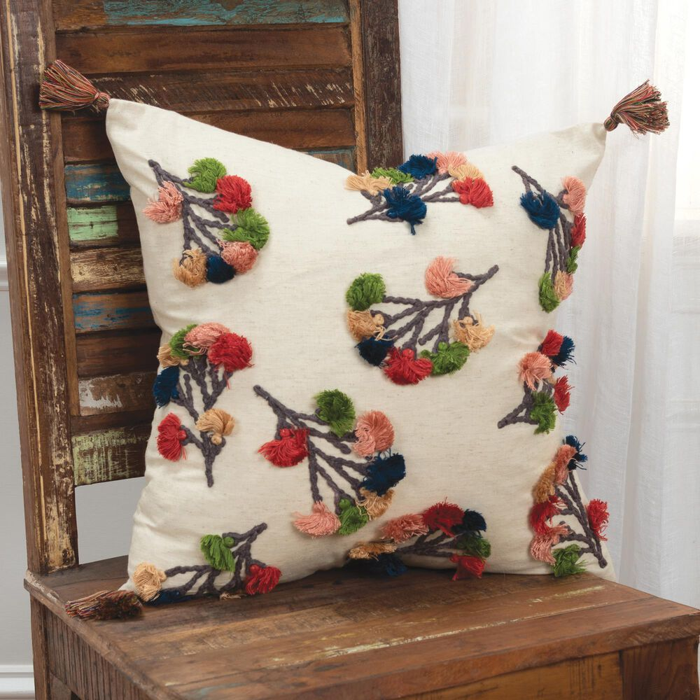 """Rizzy Home Floral 20"""" Poly Filled Pillow in White, , large"""