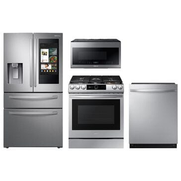 Samsung 4-Piece Kitchen Package with 22 Cu. Ft. 4-Door French Door and Gas Range in Stainless Steel, , large