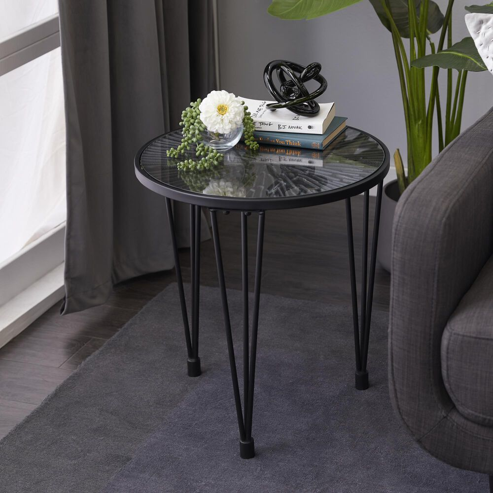 Uma Enterprises  Modern Wood Accent Table in Jet Black, , large