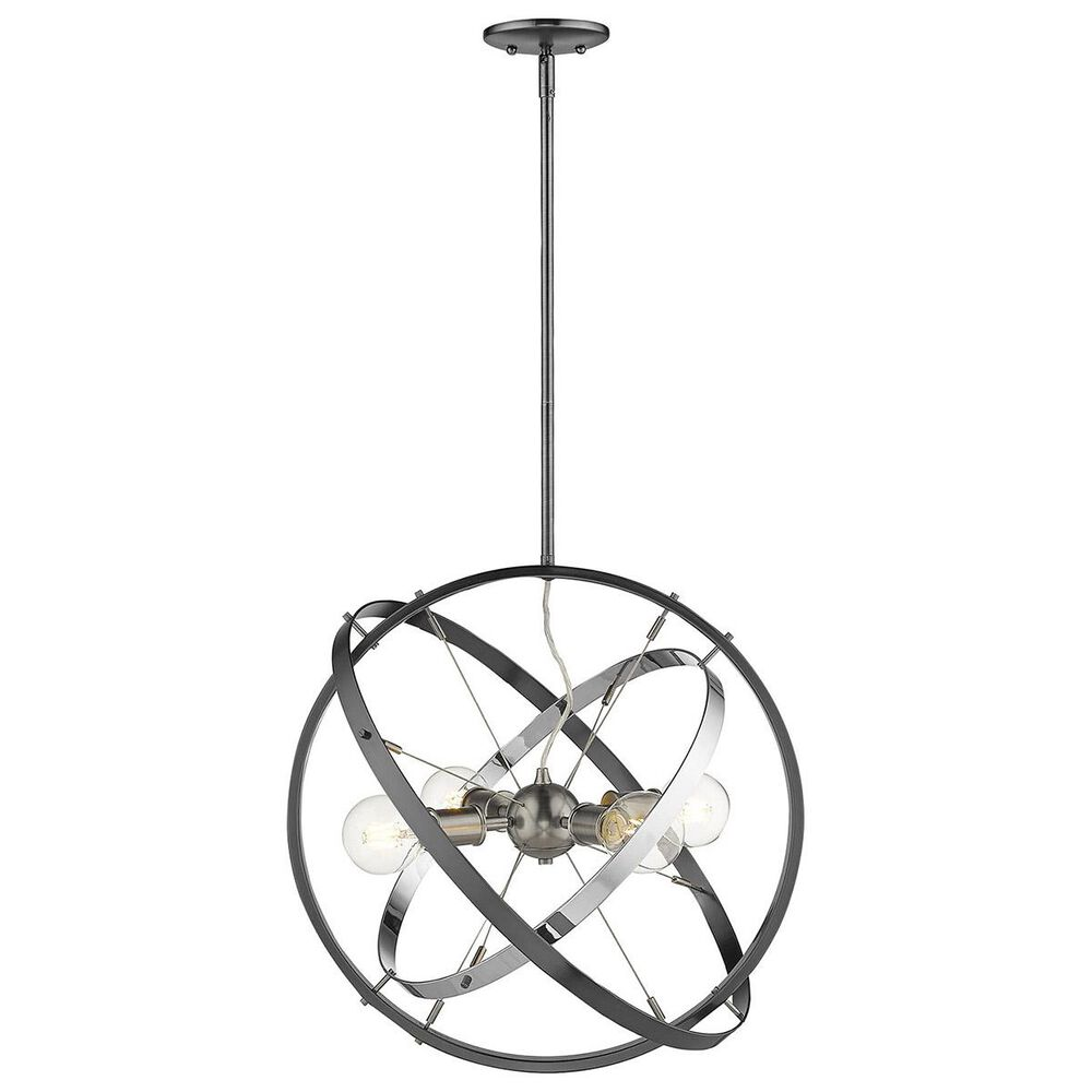 Golden Lighting Atom 4-Light Chandelier in Brushed Steel with Chrome and Black Brushed Steel Accent Rings, , large