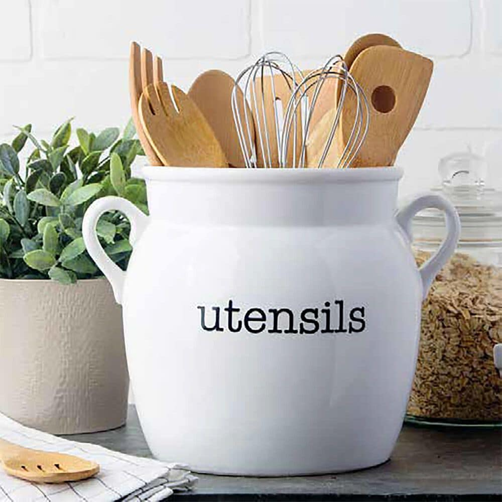 Home Essentials & Beyond 2-Handle Utensil Crock with Black Letters in White, , large