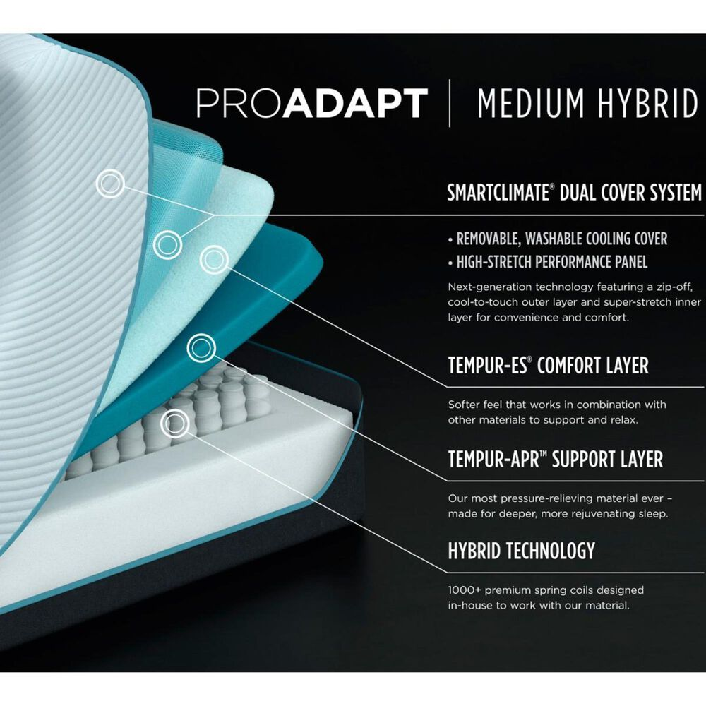 Tempur-Pedic TEMPUR-PROADAPT Medium Hybrid Queen Mattress Only, , large