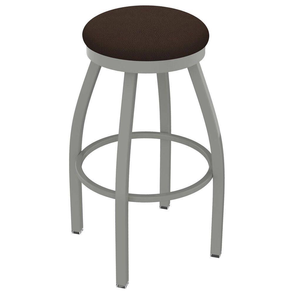 """Holland Bar Stool 802 Misha 25"""" Swivel Counter Stool with Anodized Nickel and Rein Coffee Seat, , large"""