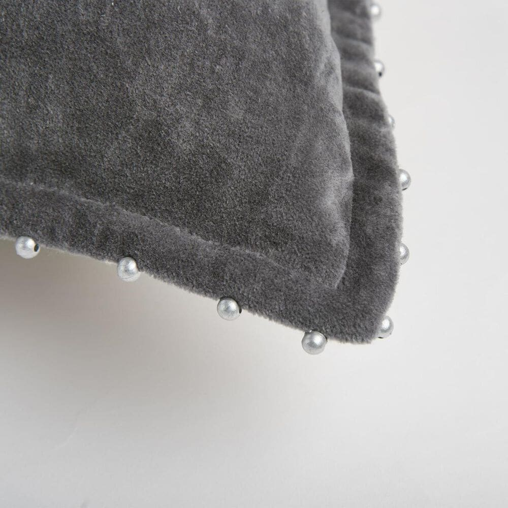 """Rizzy Home 22"""" x 22"""" Poly-Fill Pillow in Solid Dark Grey, , large"""