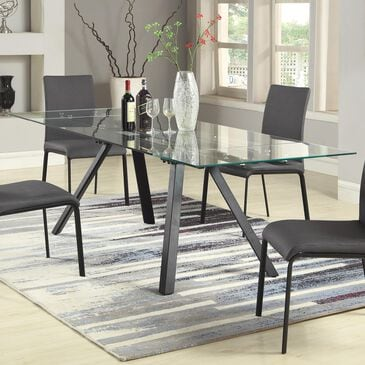 """Monroe Aida 63"""" Glass Top Dining Table in Clear and Matte Black, , large"""