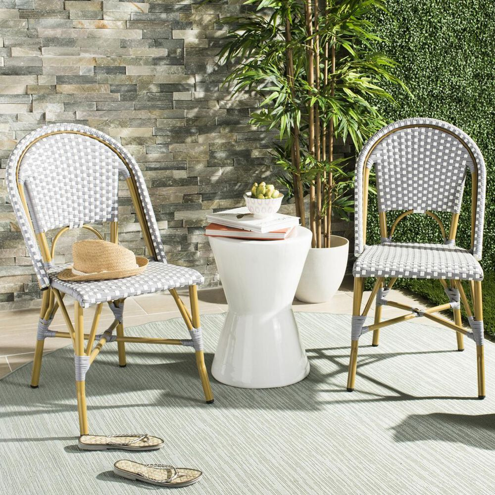 Safavieh Salcha Indoor/Outdoor Stacking Side Chair in Grey and White (Set of 2), , large