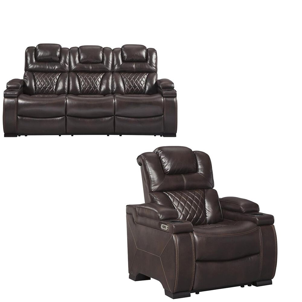 Signature Design by Ashley Warnerton Sofa and Recliner in Chocolate, , large