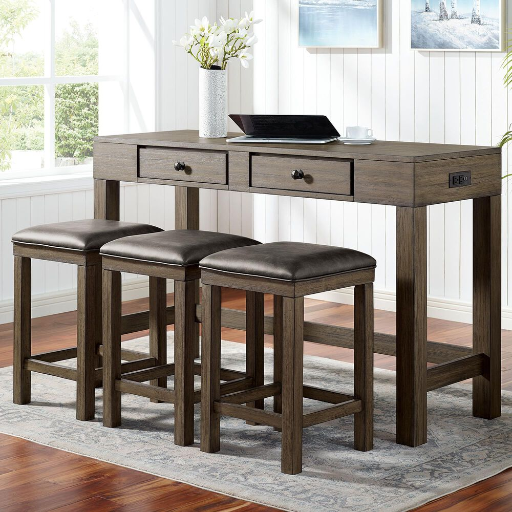 Furniture of America Graham 4-Piece Counter Height Dining Set in Gray, , large