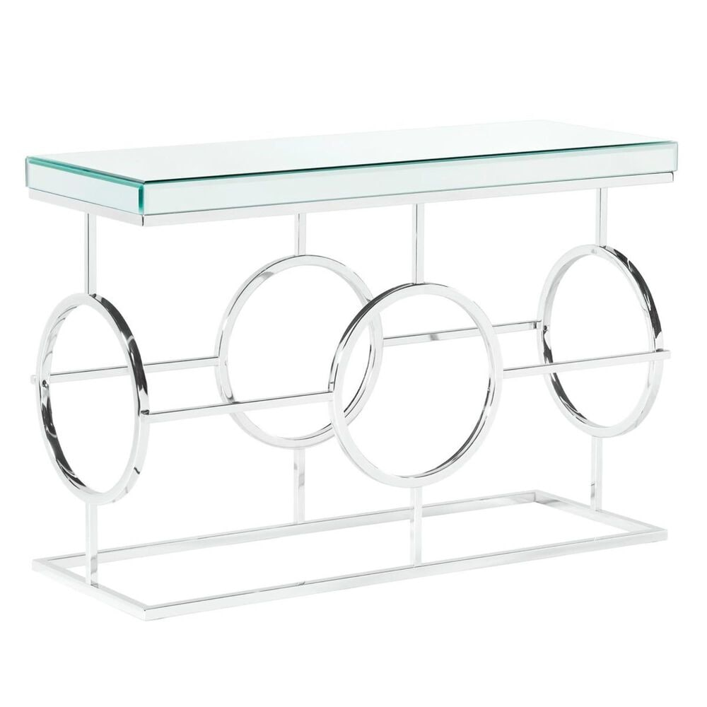 Mayberry Hill Pearl Sofa Table in Mirror and Chrome, , large