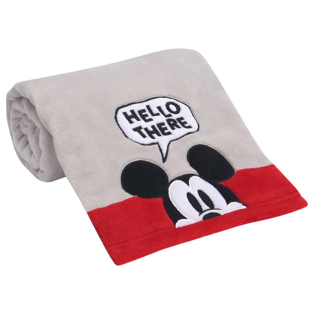 Lambs and Ivy Disney Baby Magical Mickey Mouse Baby Blanket in Black, Red, Gray and White, , large