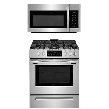 Frigidaire 2-Piece Kitchen Package with Gas Range and Over The Range Microwave in Stainless Steel , , large