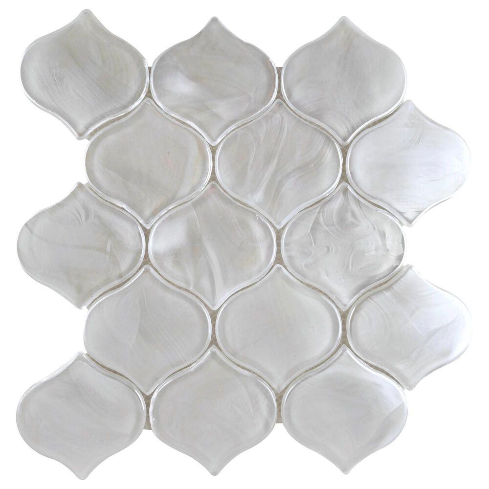 "Emser Splash White 10"" x 10"" Arabesque Glass Mosaic Sheet, , large"