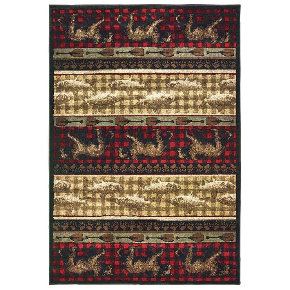 """Oriental Weavers Woodlands 9594B 1'10"""" x 7'6"""" Red Door Mats, , large"""