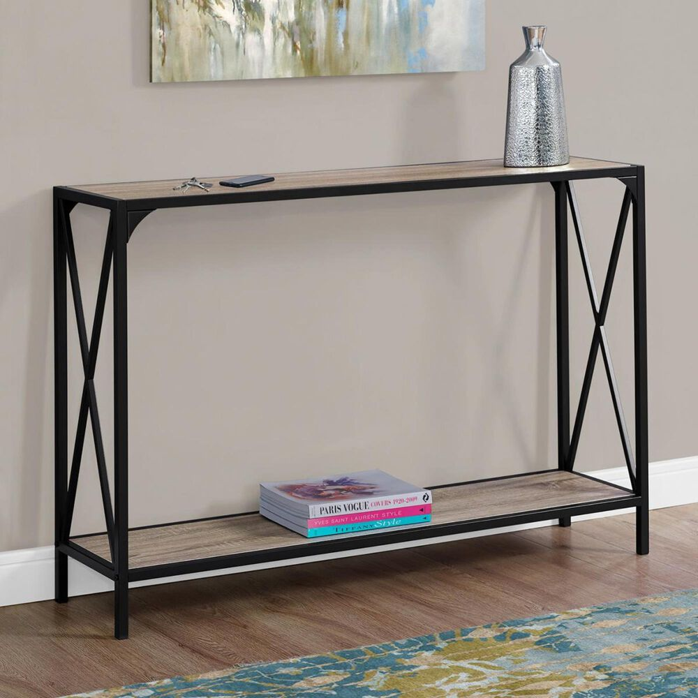 """Monarch Specialties 48"""" Console Table in Dark Taupe and Black, , large"""
