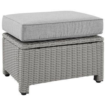 Crosley Furniture Bradenton Patio Wicker Ottoman with Gray Base in Gray, , large