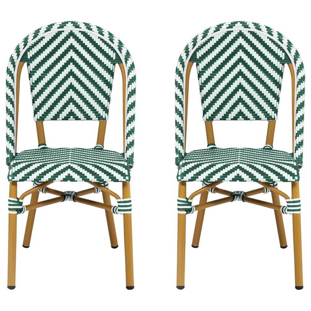 Furniture of America Lam Patio Dining Chair in Green/White (Set of 2), , large