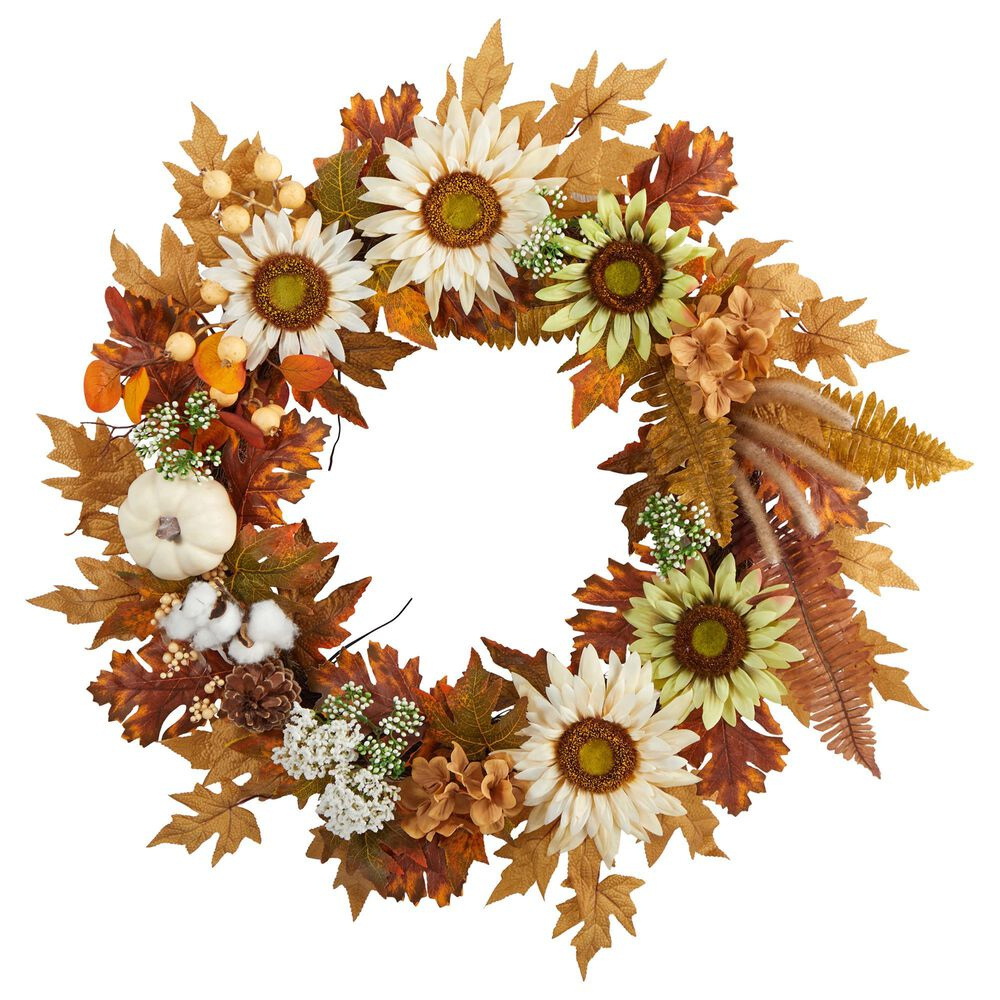 Nearly Natural Inc 30in. Autumn Sunflower, White Pumpkin and Berries Artificial Fall Wreath, , large