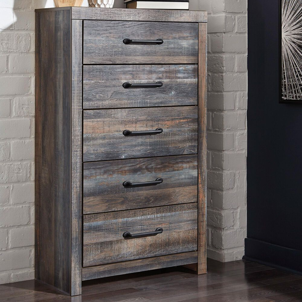 Signature Design by Ashley Drystan 5 Drawer Chest in Brown Rustic, , large