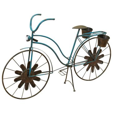 """The Gerson Company 53"""" Solar Powered Metal Bicycle Planter in Blue, , large"""