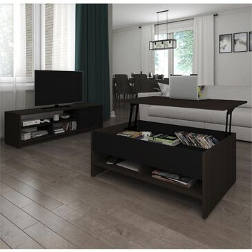 Bestar Small Space 2-Piece Lift-Top Coffee Table and TV Stand Set in Dark Chocolate and Black, , large