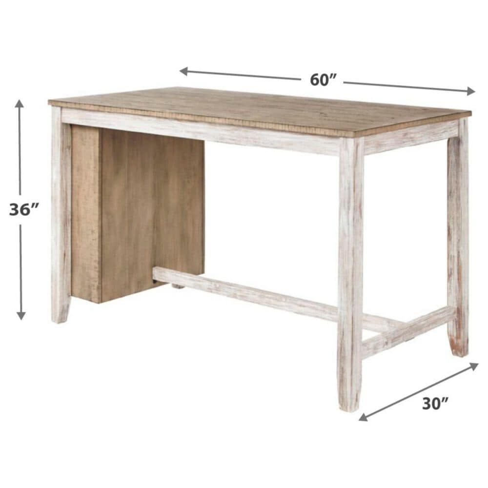 Signature Design by Ashley Skempton Counter Table with Storage in White and Light Brown - Table Only, , large