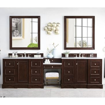 """James Martin De Soto 118"""" Double Bathroom Vanity in Burnished Mahogany with 3 cm Classic White Quartz Top, , large"""