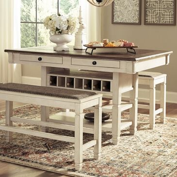 Signature Design by Ashley Bolanburg Counter Table in Antique White and Weathered Oak - Table Only, , large