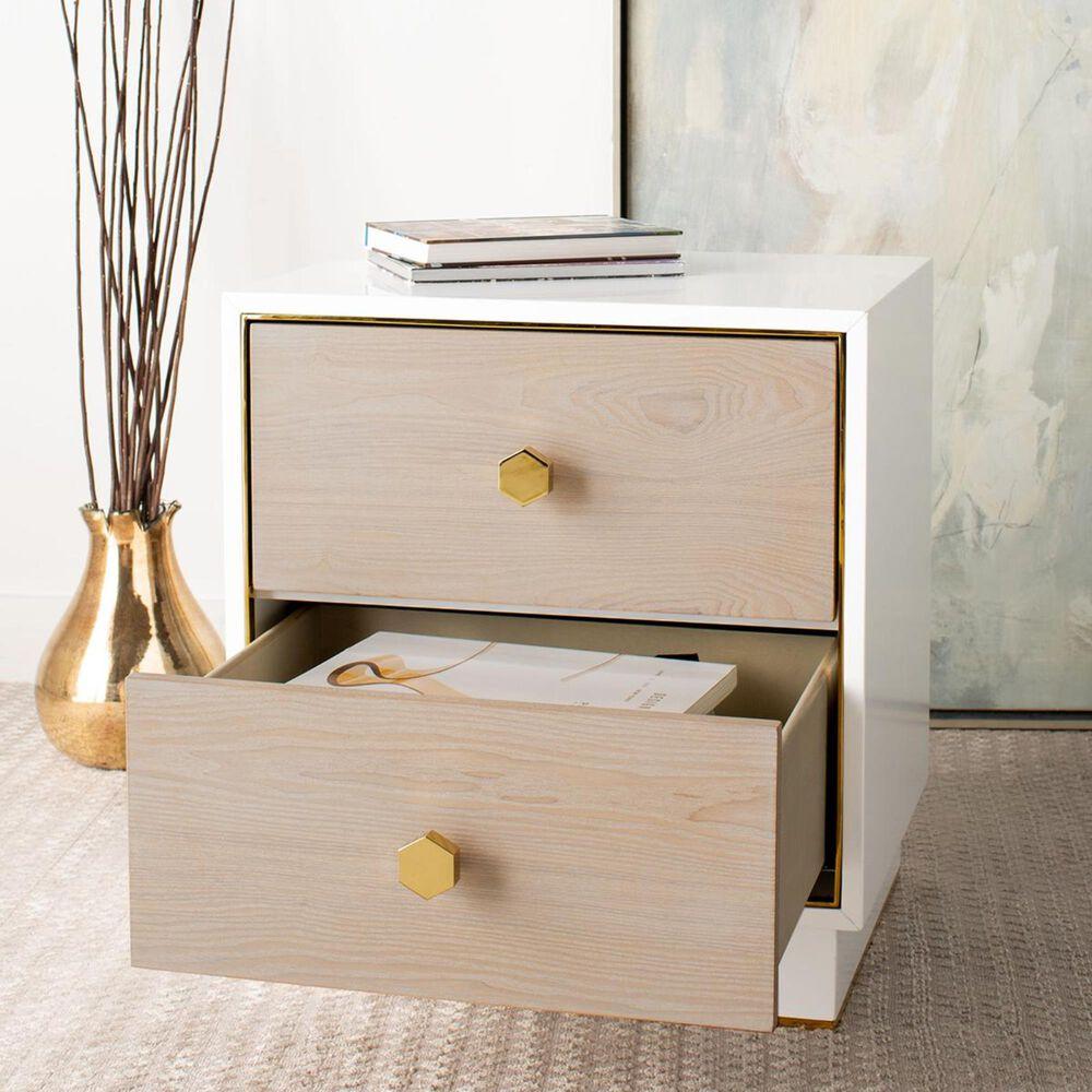 Safavieh Koa 1-Drawer Side Table in Oak, White, and Gold, , large