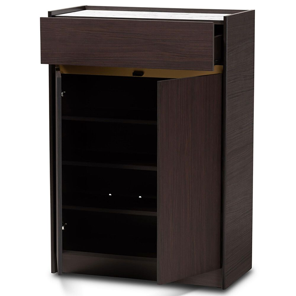 Baxton Studio Walker Shoe Cabinet in Brown/Marble/Gold, , large