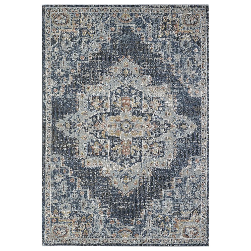 "Central Oriental Orient Dorcie 3824.218 2'2"" x 3' Blue and Dark Grey Area Rug, , large"