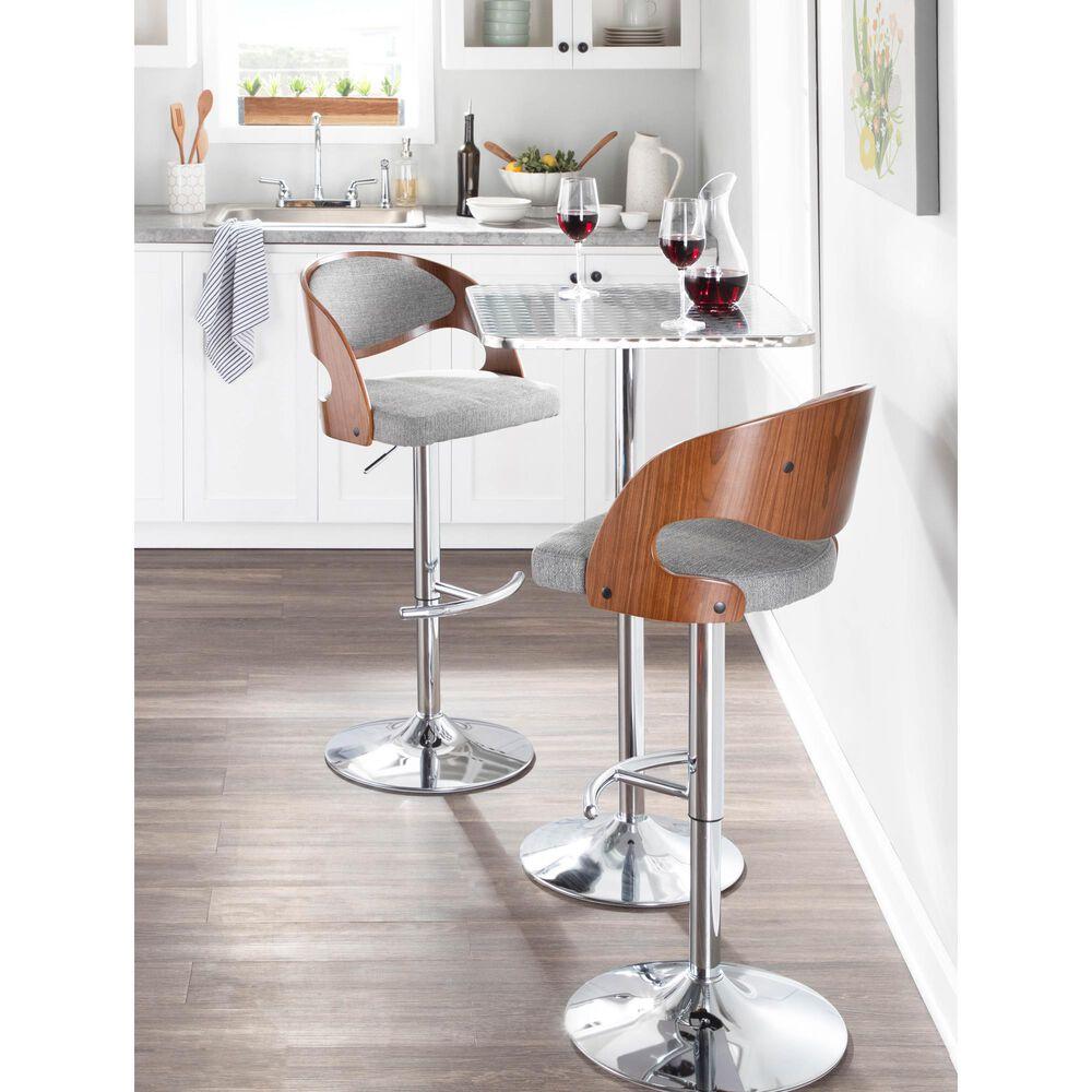 Lumisource Pino Adjustable Swivel Barstool in Grey/Walnut/Chrome, , large