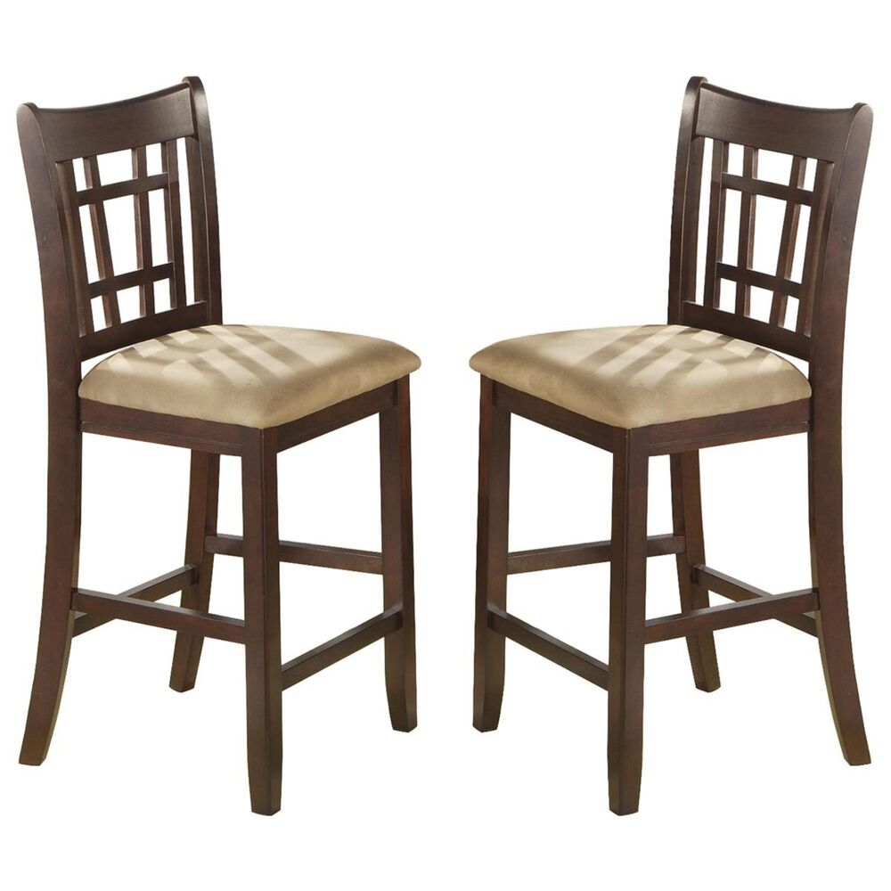 """Pacific Landing Lavon 24"""" Counter Height Stool in Brown Cherry - Set of 2, , large"""