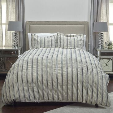 """Rizzy Home Vincent III 98"""" x 98"""" Duvet in Blue, , large"""