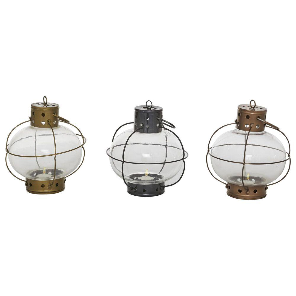 Maple and Jade Rustic Metal Lantern (Set of 3), , large